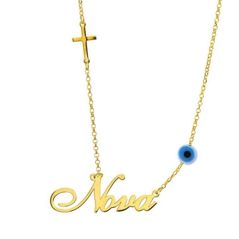 Γυναικείο Χρυσό κολιέ 9Κ με το όνομα Νονά με σταυρό και ματάκι.