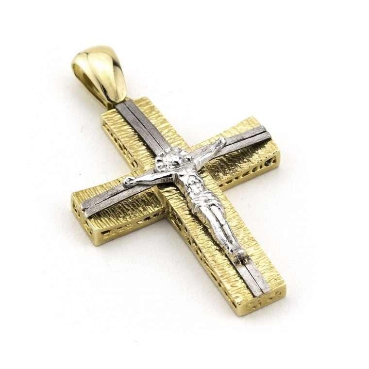 Χρυσός/Λευκός Σταυρός βάπτισης για Αγόρι Κ14 εσταυρωμένος Νο.238