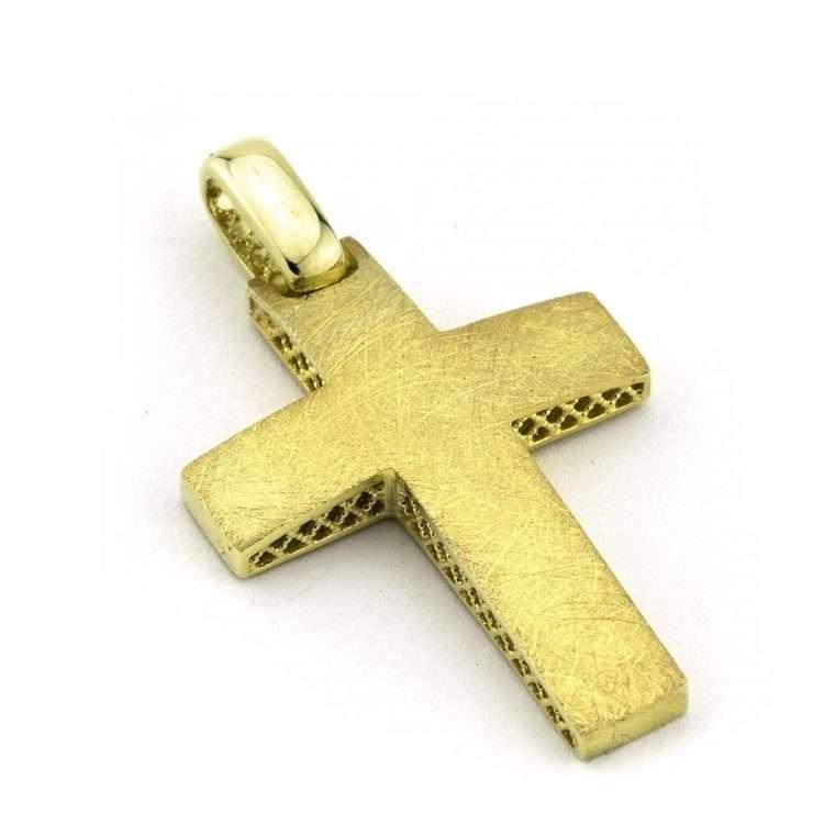 Σταυρός βάπτισης για Αγόρι διπλής όψης χρυσός Κ14 Νο.246s