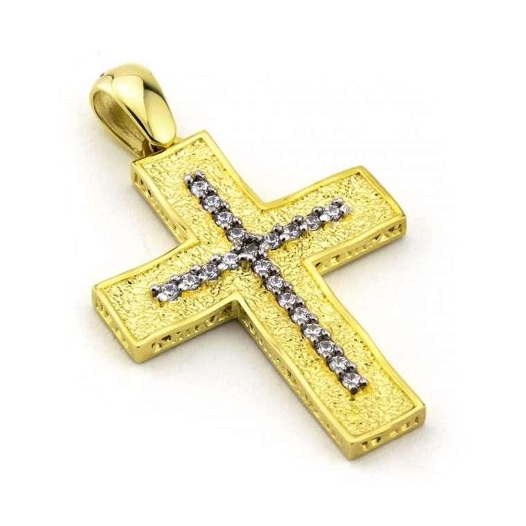 Χρυσός σταυρός βάπτισης για κορίτσι διπλής όψης χρυσός Κ14 Νο.250