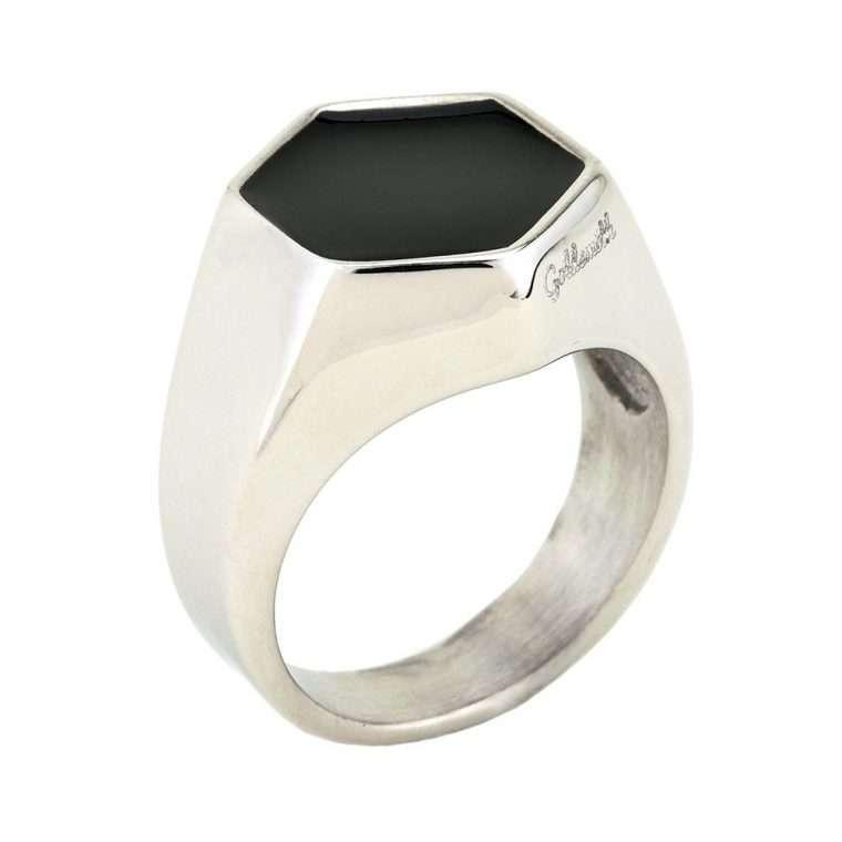 Ανδρικό Δαχτυλίδι signet εξάγωνο stainless steel ασημί