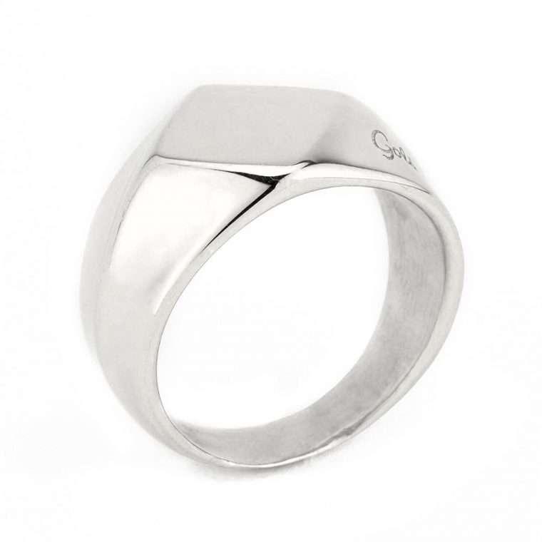 Ανδρικό Δαχτυλίδι ρόμβος stainless steel ασημί.