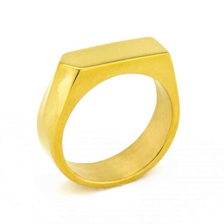 Ανδρικό Δαχτυλίδι focus stainless steel χρυσό.