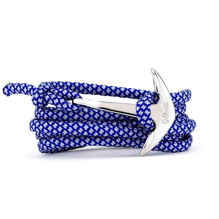 Μπλε λευκό / ασημί stainless steel άγκυρα - anchor.