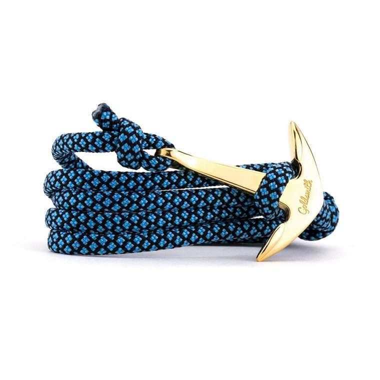 Γαλάζιο μαύρο / χρυσή stainless steel άγκυρα - anchor.