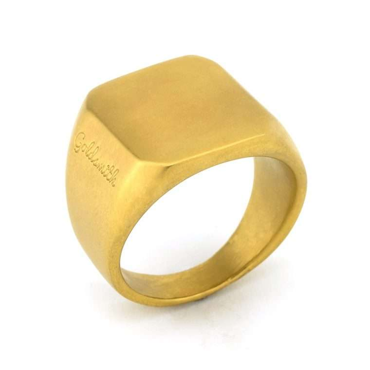 Ανδρικό Δαχτυλίδι Matte square stainless steel χρυσό.