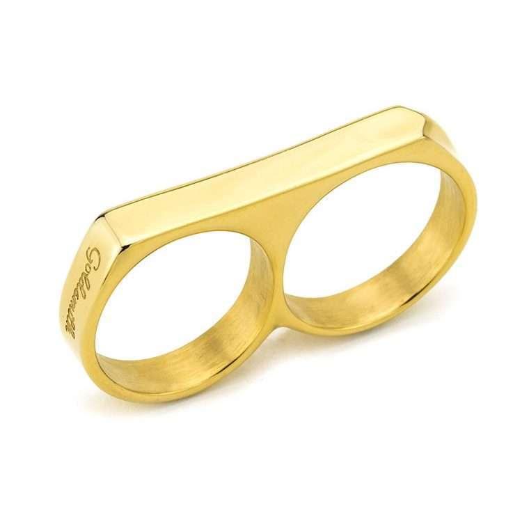 Ανδρικό Δαχτυλίδι Goldsmith double από χειρουργικό ατσάλι σε χρυσό.
