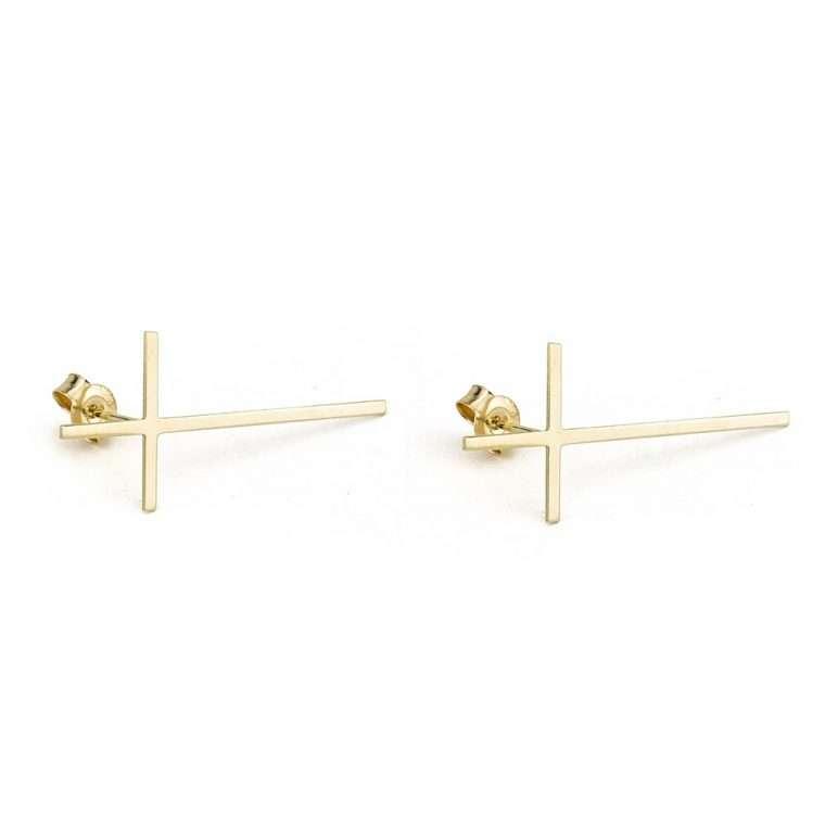 Χρυσά σκουλαρίκια σταυροί 14 καράτια. για το αφτί