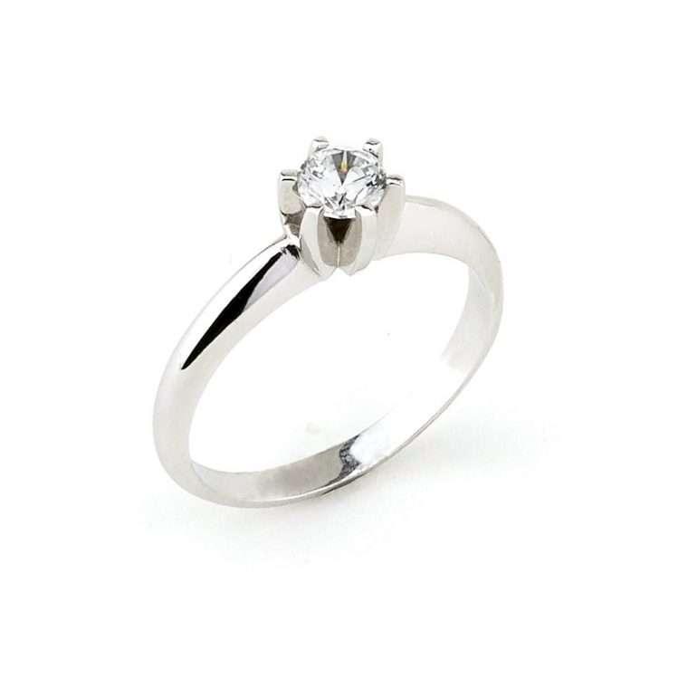 Λευκόχρυσο Μονόπετρο δαχτυλίδι Κ18.