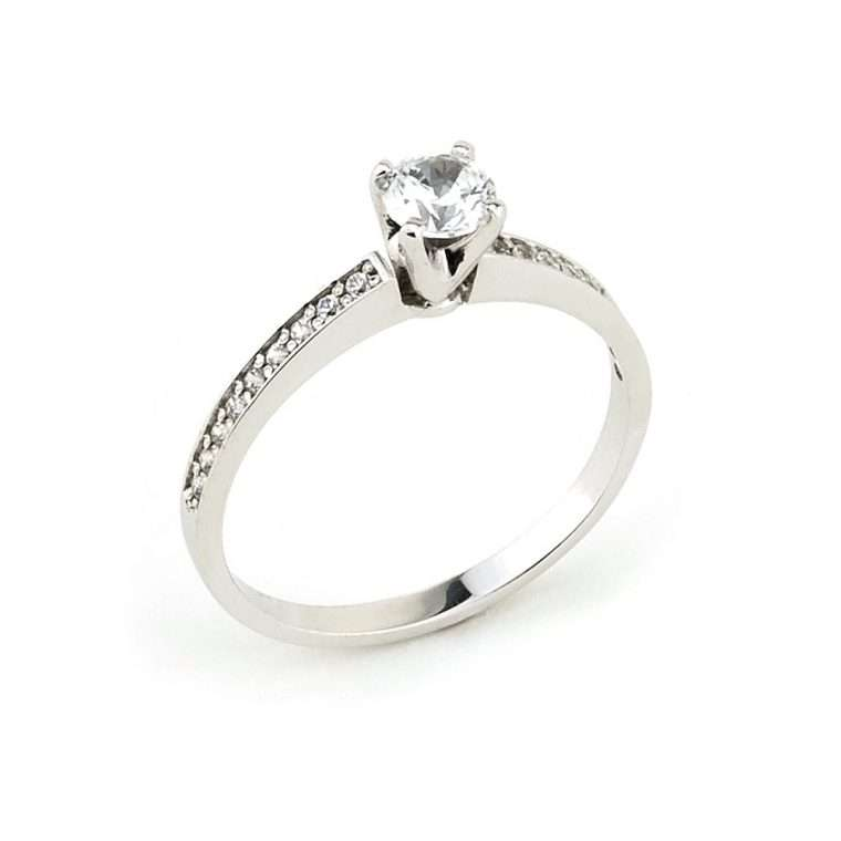 Λευκόχρυσο Μονόπετρο δαχτυλίδι K18.