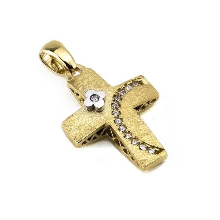 Χρυσός σταυρός βάπτισης για Κορίτσι διπλής όψης 14 καράτια Νο.246k