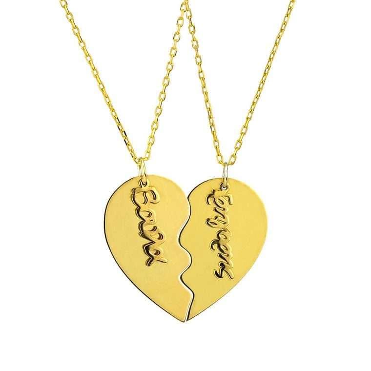 Γυναικείο Ασημένιο κολιέ διπλή καρδιά.