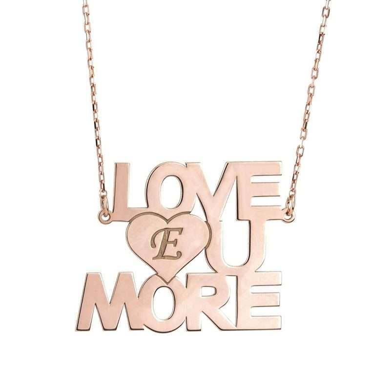 """Γυναικείο ασημένιο κολιέ """"Love u more"""""""