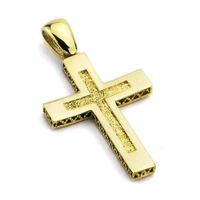 Χρυσός σταυρός βάπτισης για αγόρι διπλής όψης 14 καράτια Νο.241
