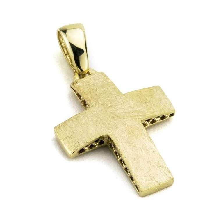 Χρυσός σταυρός για αγόρι διπλής όψης 14 καρατίων Νο.249