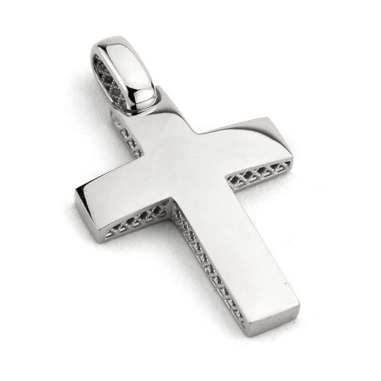 Λευκόχρυσος σταυρός βάπτισης για Αγόρι διπλής όψης 14 καρατίων Νο.277