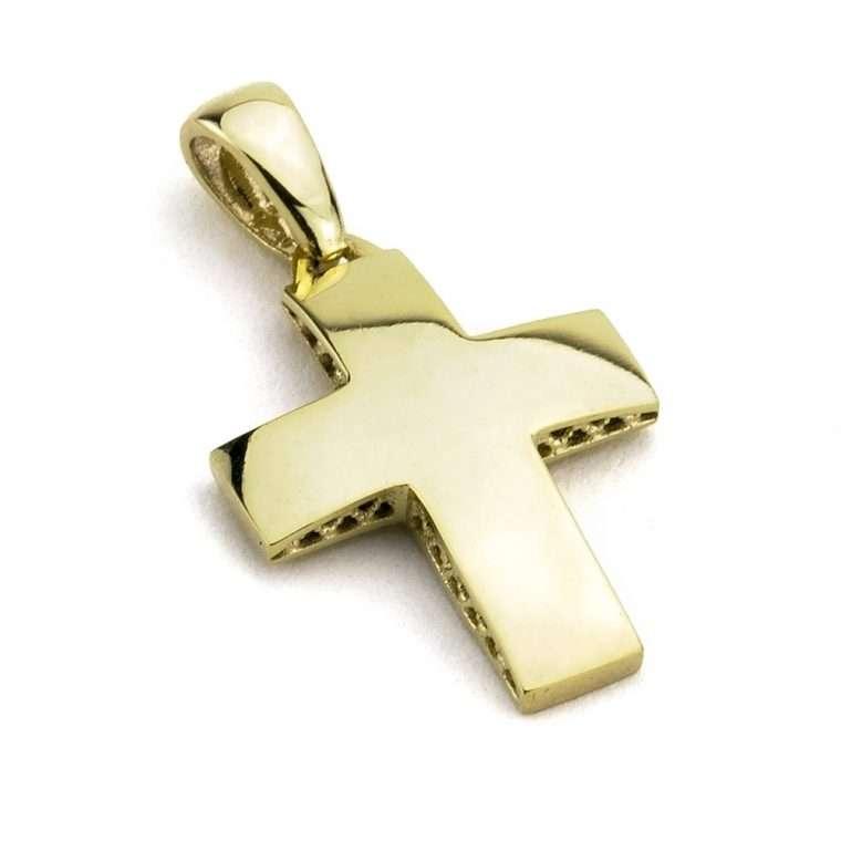 Χρυσός σταυρός για αγόρι και κορίτσι διπλής όψης 14 καρατίων Νο.250
