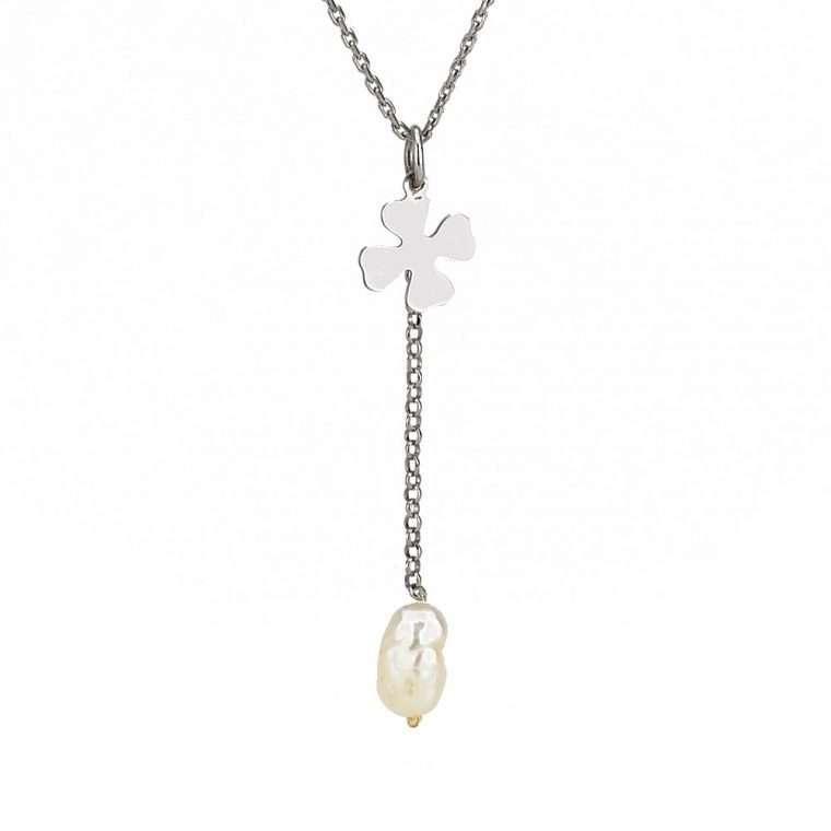 Γυναικείο Ασημένιο κολιέ τριφύλλι μικρό με κρεμαστο μαργαριτάρι.