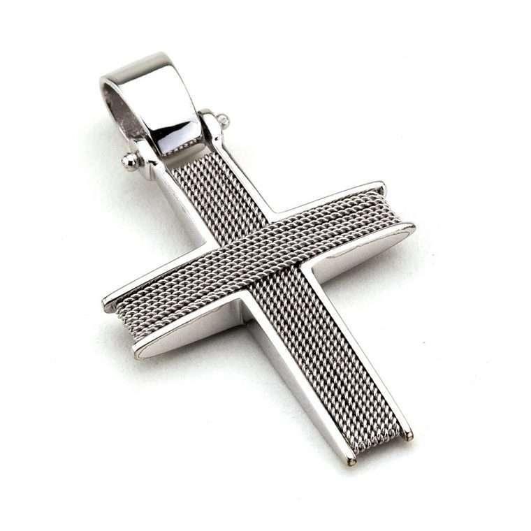 Λευκόχρυσος συρματερός σταυρός βάπτισης για Αγόρι διπλής όψης 14 καράτια Νο.252
