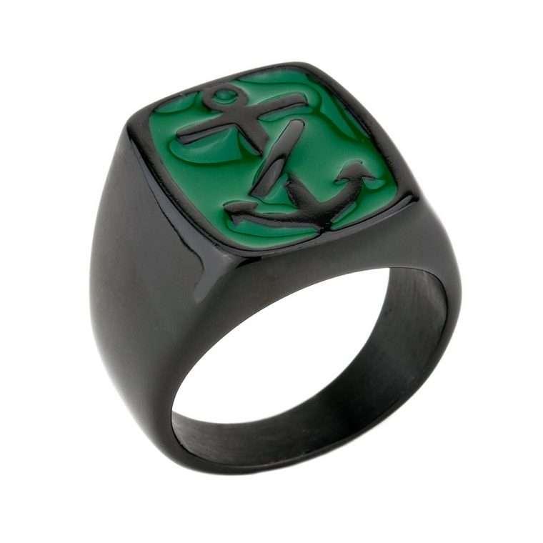 Ανδρικό Δαχτυλίδι Goldsmith's anchor stainless steel μαύρο με σμάλτο.