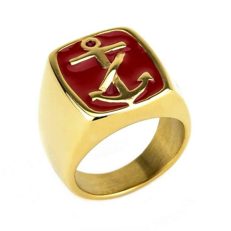 Ανδρικό Δαχτυλίδι Goldsmith's anchor stainless steel χρυσό με κόκκινο σμάλτο