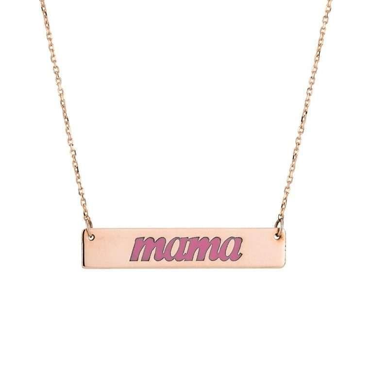 Γυναικείο Χρυσό κολιέ 9 καράτια mama με ροζ σμάλτο.