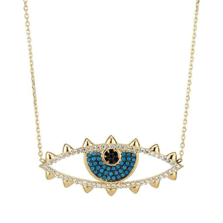 Γυναικείο Ασημένιο κολιέ μάτι με τυρκουάζ πέτρες.