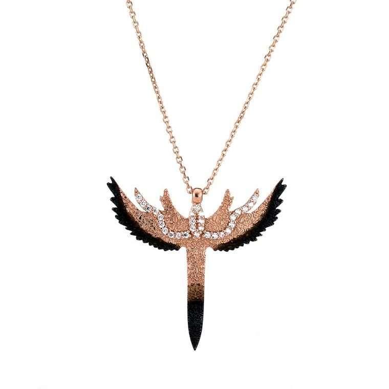 Γυναικείο Ασημένιο κολιέ μαχαίρι με φτερά αγγέλου.