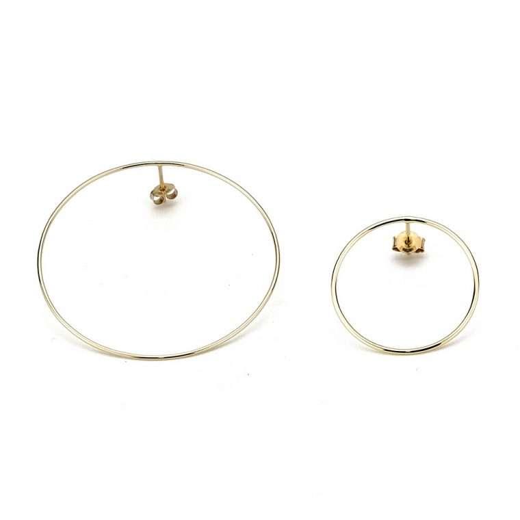 Χρυσά σκουλαρίκια κύκλοι 14 καράτια. για το αφτί
