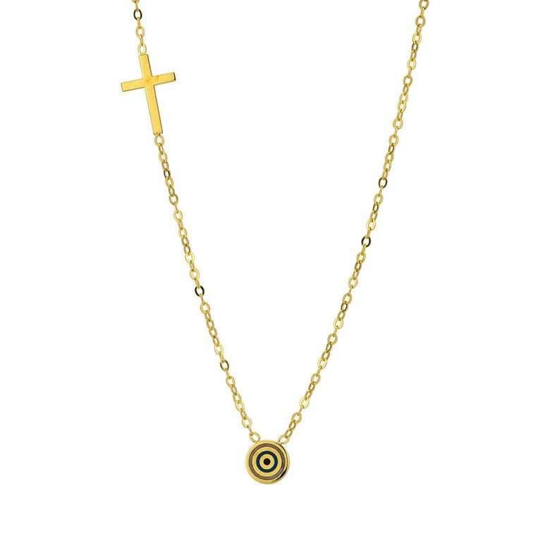 Γυναικείο Χρυσό κολιέ 9 καράτια στρόγγυλο ματάκι με σταυρό.