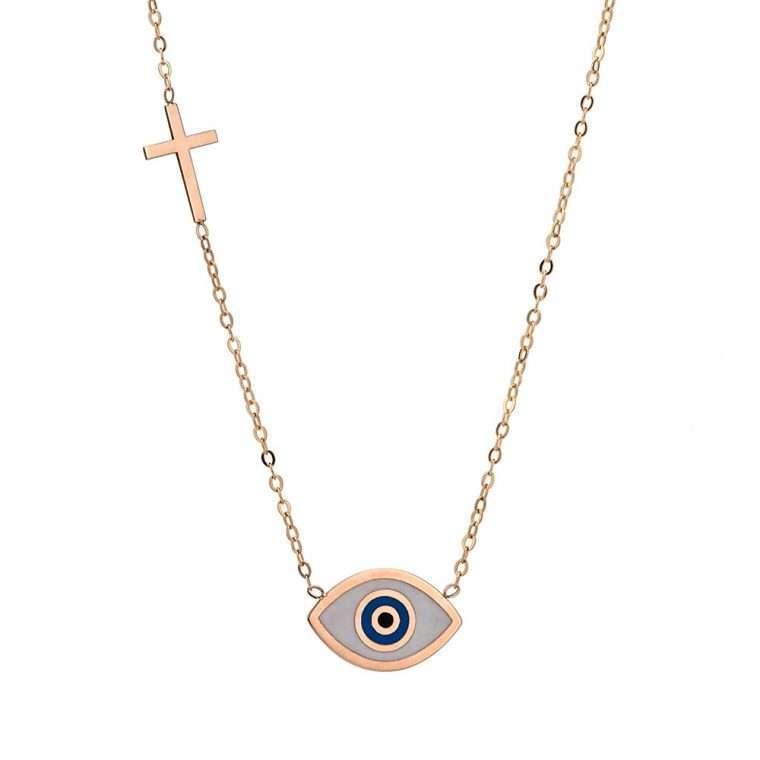 Γυναικείο Χρυσό κολιέ 9 καράτια μάτι οβάλ με σταυρό στην αλυσίδα.