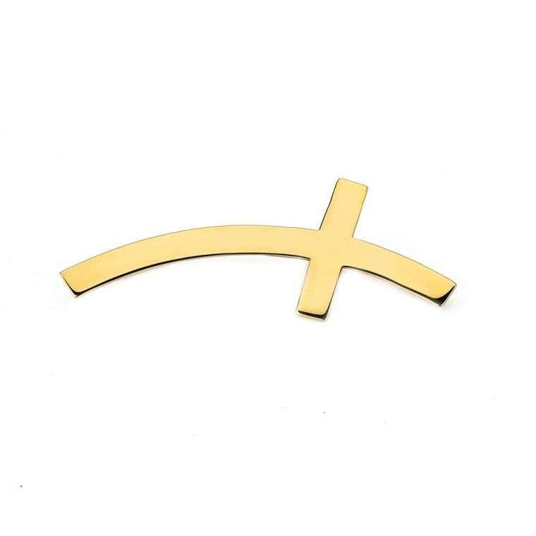 Χρυσό σκουλαρίκι 14 καράτια πλαινός σταυρός. για το αφτί