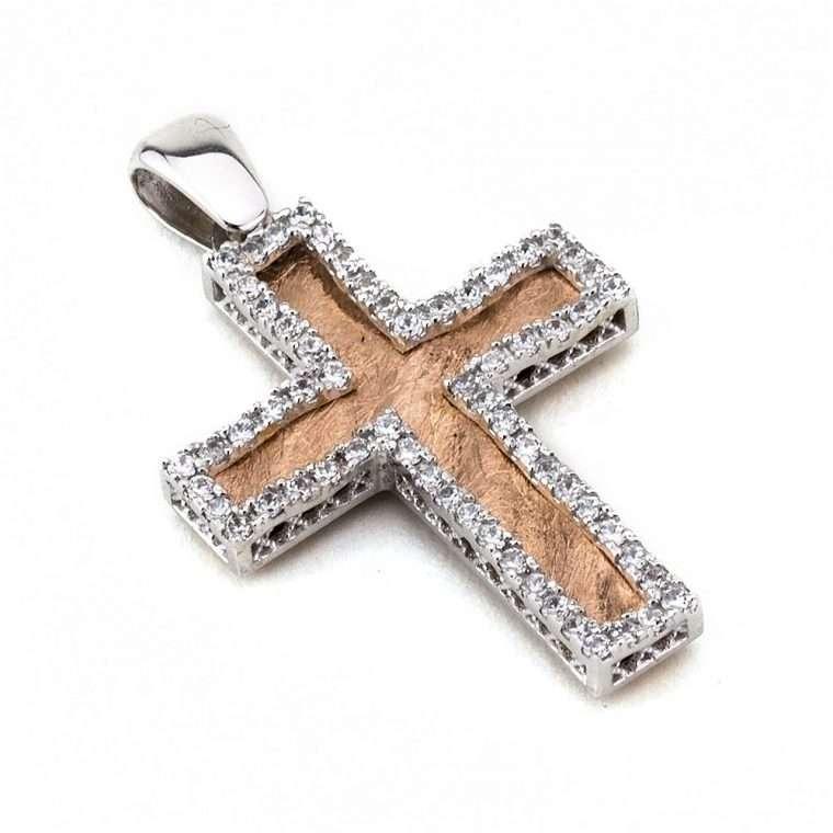Ροζ χρυσός/Λευκόχρυσος Σταυρός Βάπτισης για Κορίτσι διπλής όψης 14 καράτια Νο.648
