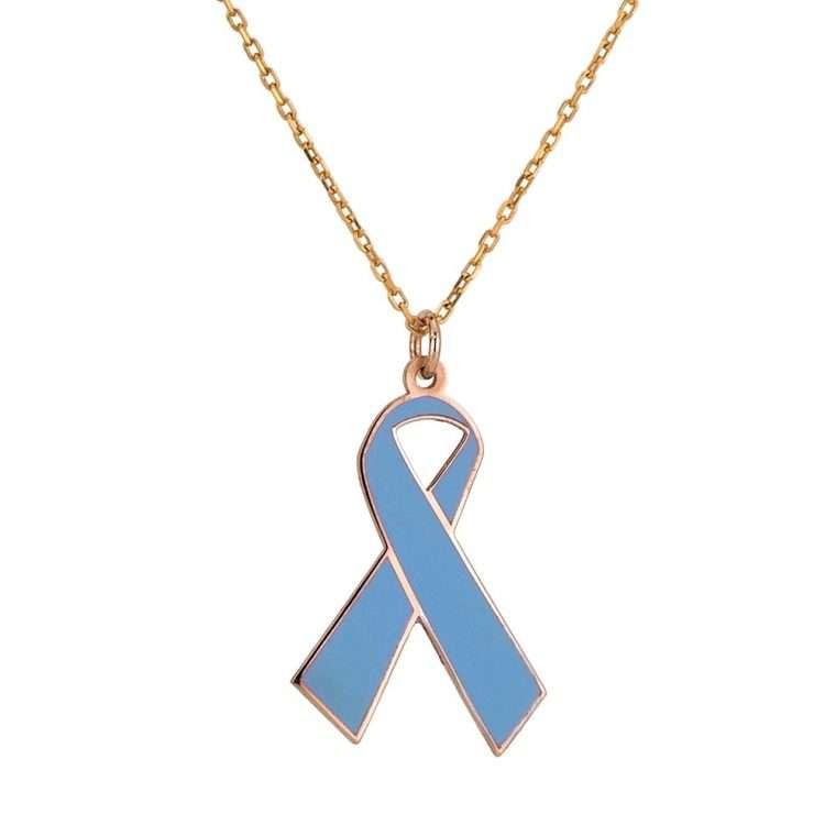Γυναικείο Ασημένιο κολιέ γαλάζια κορδέλα με σμάλτο.