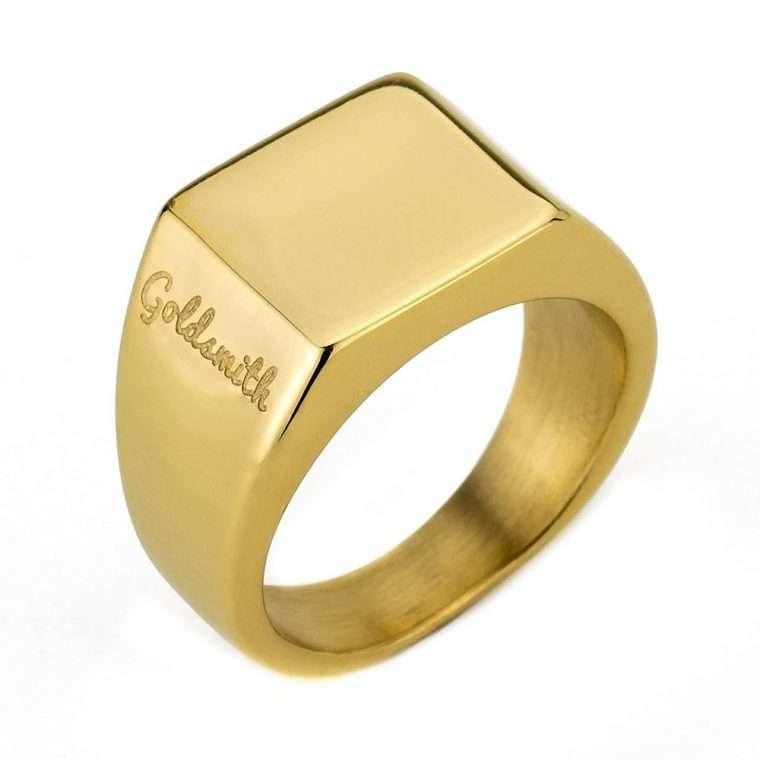 Ανδρικό Δαχτυλίδι Goldsmith's signet stainless steel χρυσό.