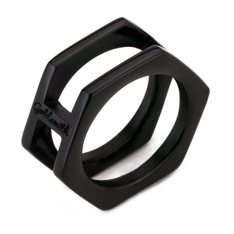 Ανδρικό Δαχτυλίδι Goldsmith's Hexagon signet stainless steel μαύρο.