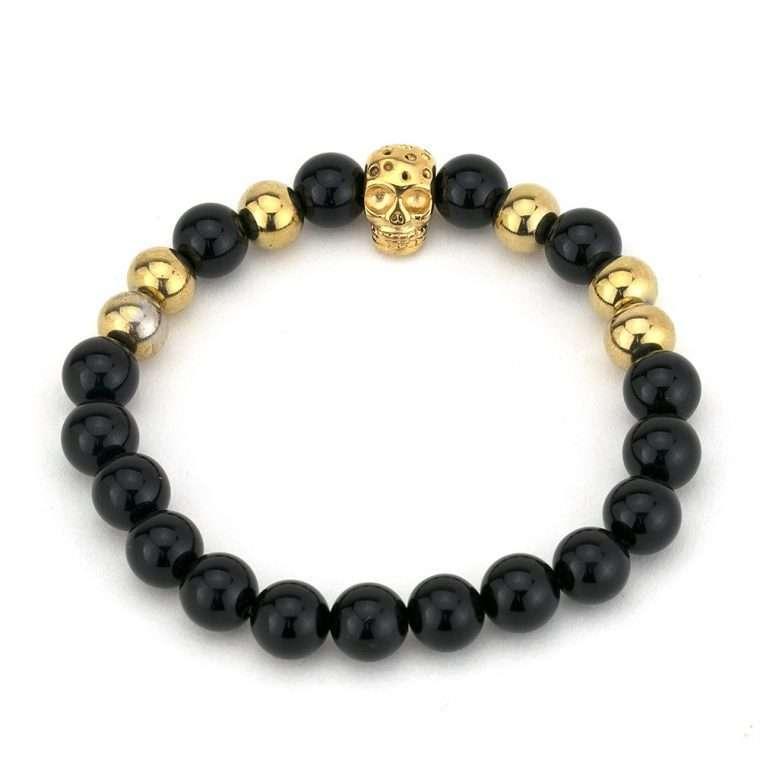 Βραχιόλι πέτρες black onyx gold bead skull.