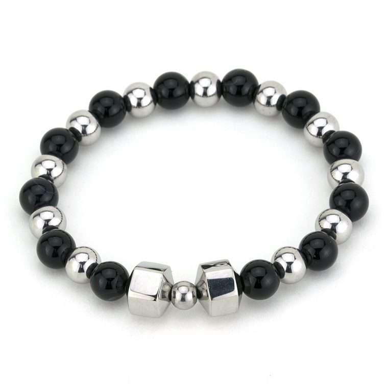 Βραχιόλι πέτρες black onyx silver.