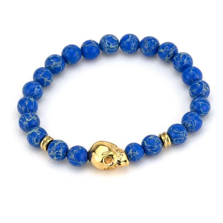 Βραχιόλι πέτρες blue lappis gold skull.