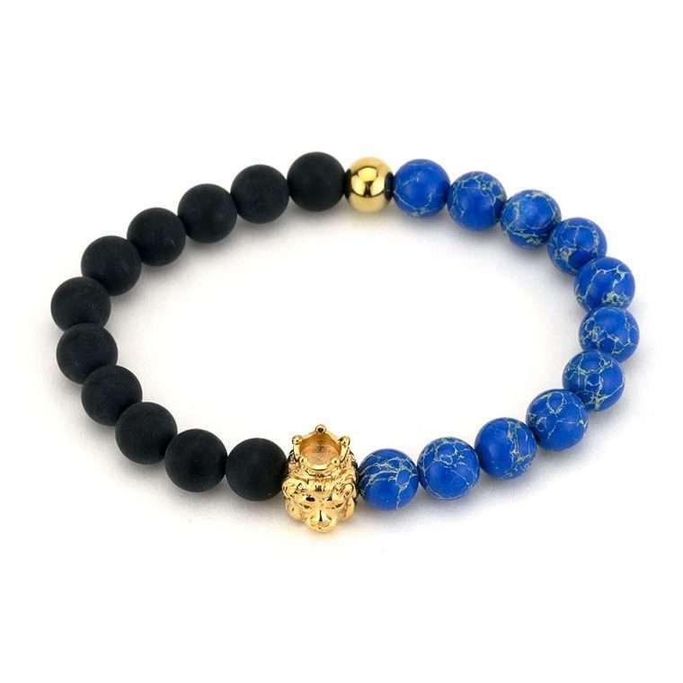 Βραχιόλι πέτρες black and blue lion king.