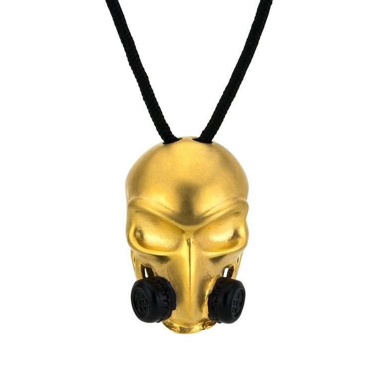 Ανδρικό Goldsmith κολιέ skull  gas mask gold matte.