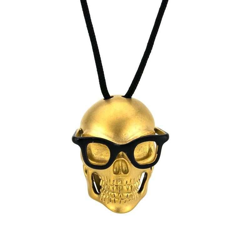 Ανδρικό Goldsmith κολιέ skull pendant gold sunglasses.