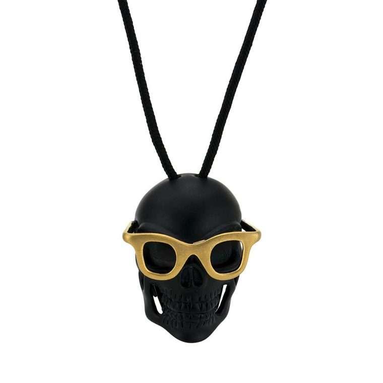 Ανδρικό Goldsmith κολιέ skull pendant black sunglasses.