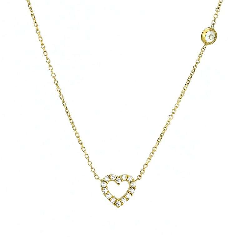Γυναικείο Χρυσό κολιέ 9 καράτια καρδιά με λευκές πέτρες ζιργκόν.