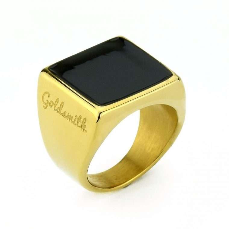 Ανδρικό Δαχτυλίδι Goldsmith's signet stainless steel χρυσό με σμάλτο Νο38