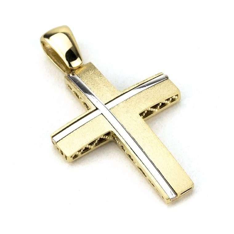 Σταυρός Βάπτισης για Αγόρι διπλής όψης χρυσός/λευκός 14 καράτια Νο.882