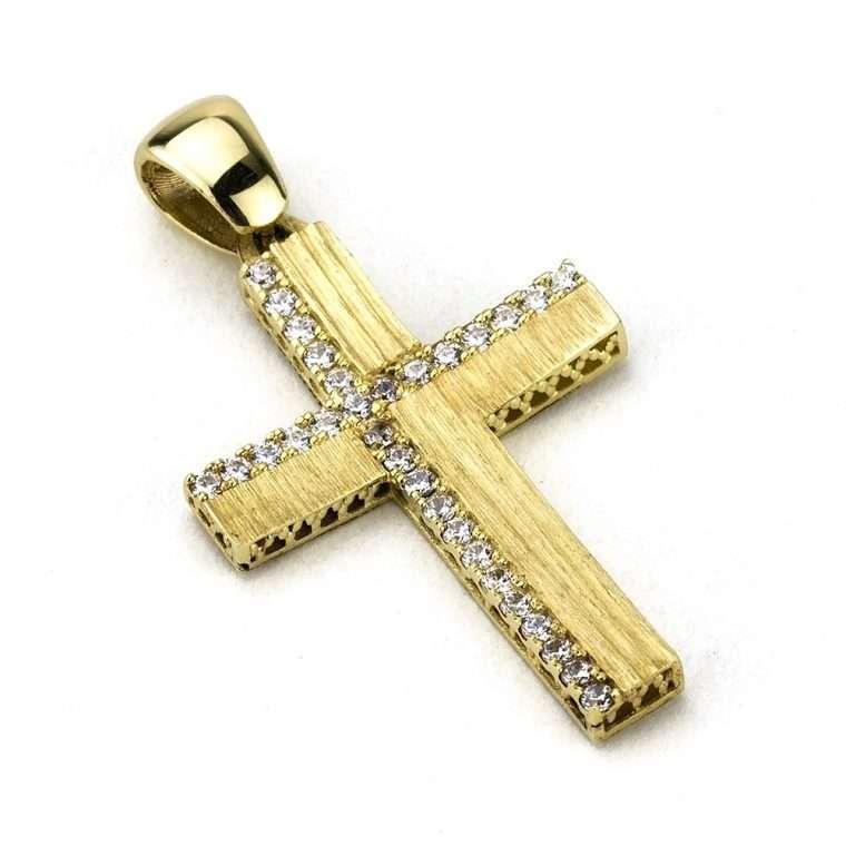Χρυσός σταυρός βάπτισης για Κορίτσι διπλής όψης 14 καράτια Νο.884