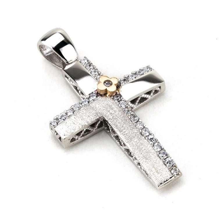 Λευκόχρυσος σταυρός βάπτισης για Κορίτσι διπλής όψης 14 καράτια Νο.887