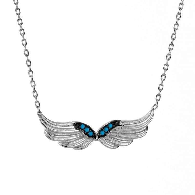 Γυναικείο Ασημένιο κολιέ διπλά φτερά αγγέλου.