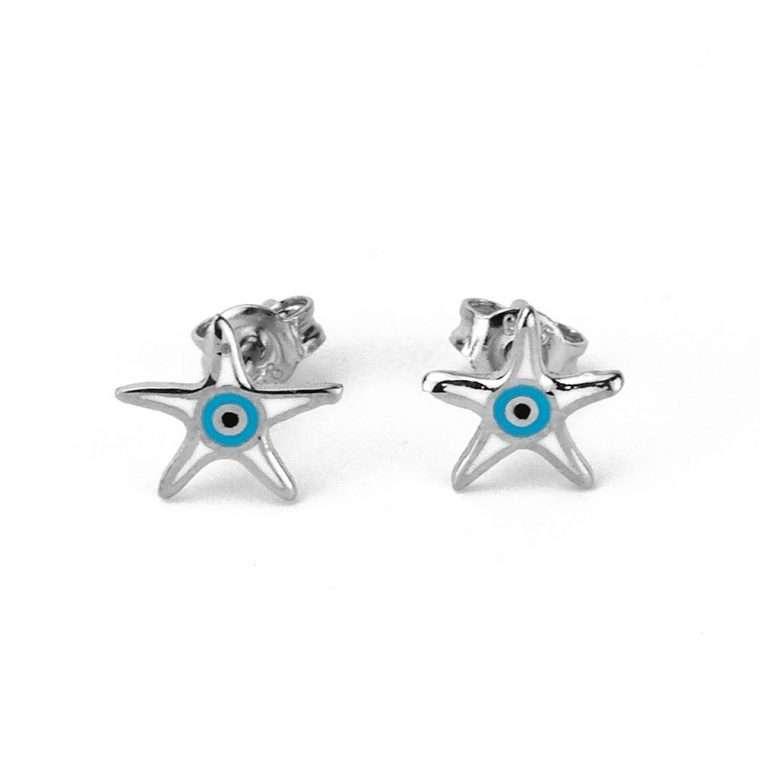 Ασημένια σκουλαρίκια αστερίας με ματάκι-στόχο για το αφτί
